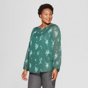 Green Floral Puff Sleeve Blouse, 1X